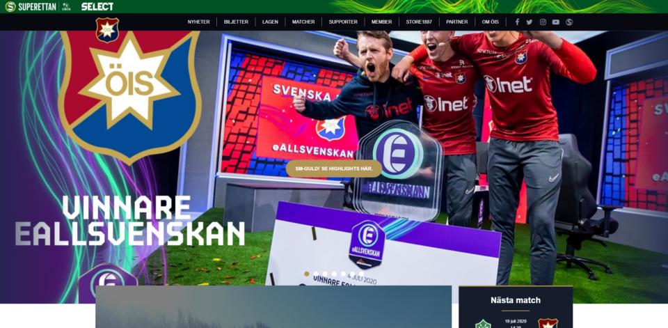 Örgryte IS hemsida pryds av esport. Detta efter att deras Fifa-lag vunnit Eallsvenskan.
