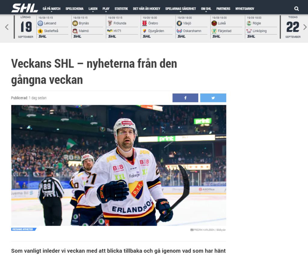 SHL.se – Veckans nyheter
